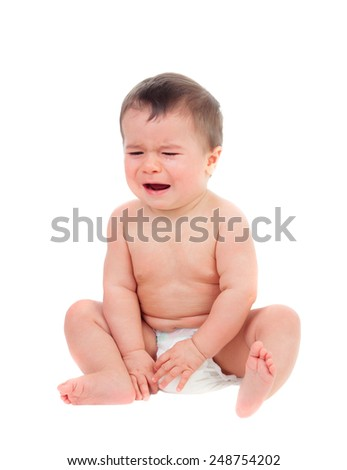 Cute baby in diaper crying isolated on a white background - stock photo