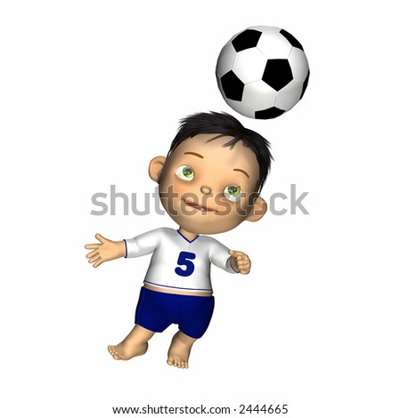 Cute baby in shirt and shorts playing soccer. Isolated on a white background. - stock photo