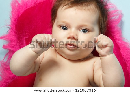 cute baby infant, beautiful kid's face and hands closeup, studio shot - stock photo