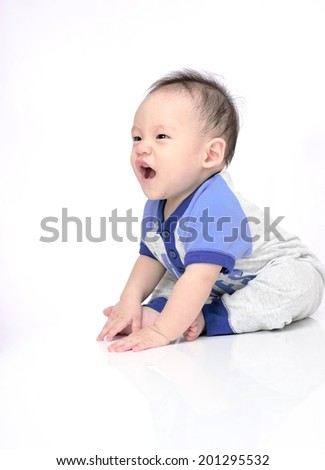 Cute baby isolated on white background