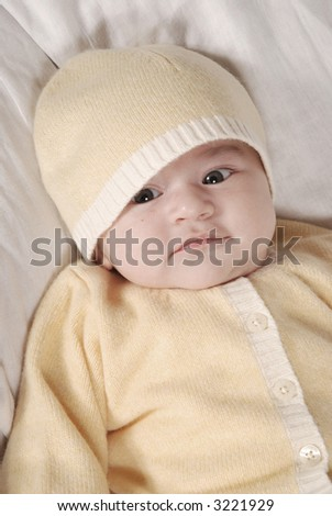 cute baby looking - stock photo