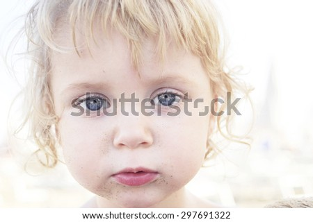 cute baby on the beach - stock photo