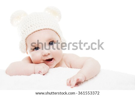 Cute baby on white background.Close up head shot of a caucasian baby boy,four months old baby looking at camera - stock photo