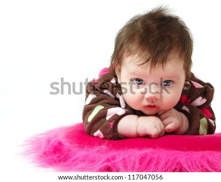 cute baby portrait, beautiful kid's face and hands closeup over white - stock photo