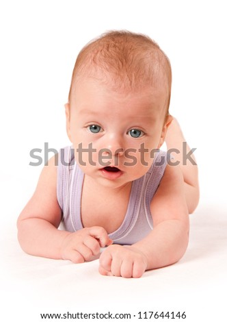 Cute baby portrait isolated on white background