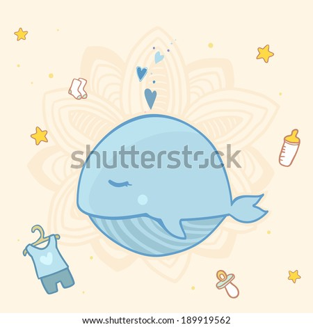 Cute baby shower with blue whale for boys