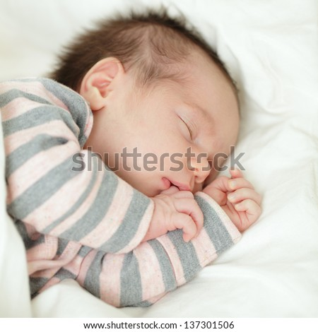 Cute baby, sleeping newborn on white background (up to 1 month)