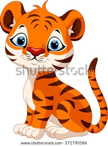 Cute baby tiger cartoon sitting - stock photo