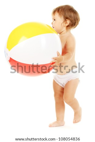 Cute baby with ball isolated on white