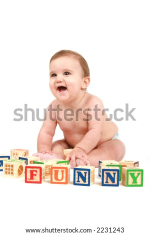 cute baby with blocks - stock photo