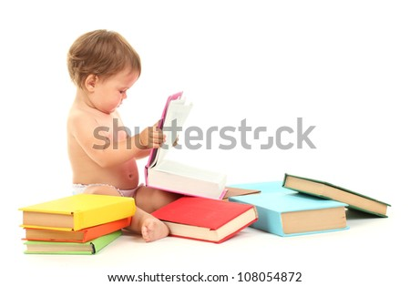 Cute baby with books isolated on white - stock photo