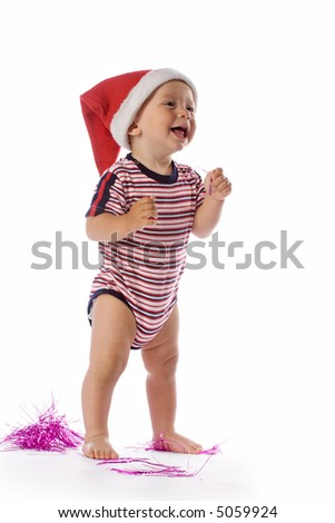 cute baby with santa claus red hat, isolated on white - stock photo