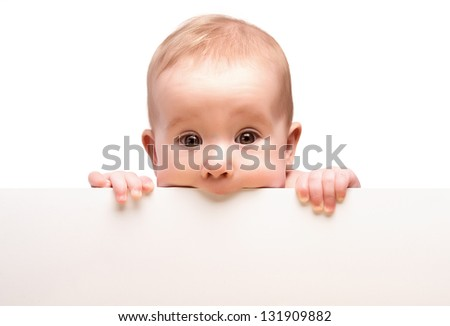 cute baby with white blank banner in hand isolated - stock photo
