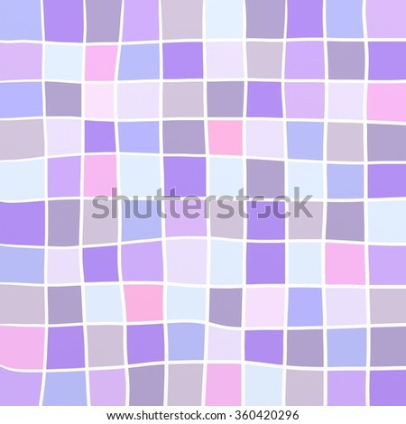 cute background squares in purple pink and blue with abstract white lines in hand drawn stripes - stock photo