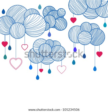 Cute background with hand drawing clouds, illustration