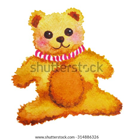 cute bear doll toy watercolor painting, hand drawing, illustration design - stock photo