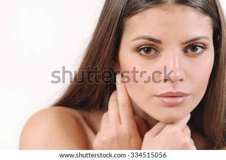 cute beautiful woman with pure skin and strong healthy bright hair, spa beauty concept - stock photo