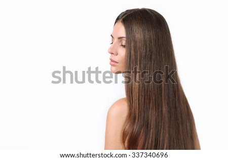 cute beautiful woman with pure skin and strong healthy bright hair, spa beauty concept