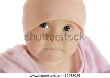 cute big-eyed baby girl looking up with curious facial expression, on white background - stock photo