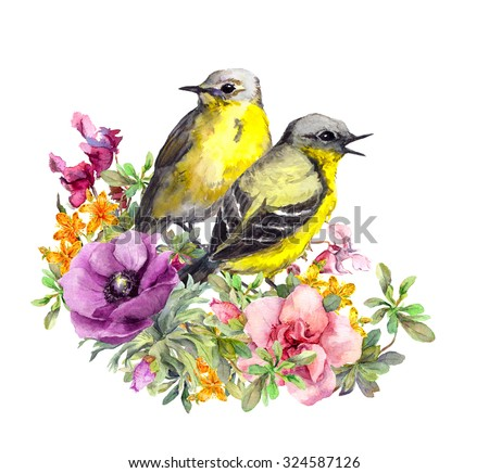 Cute birds couple in flowers. Design for wedding print or save date card. Watercolor - stock photo
