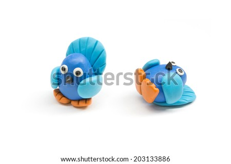 Cute birds made by clay sculpting isolate on white background - stock photo