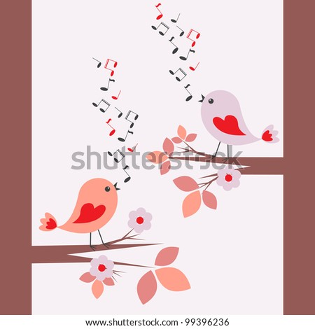 Cute birds.Raster version - stock photo