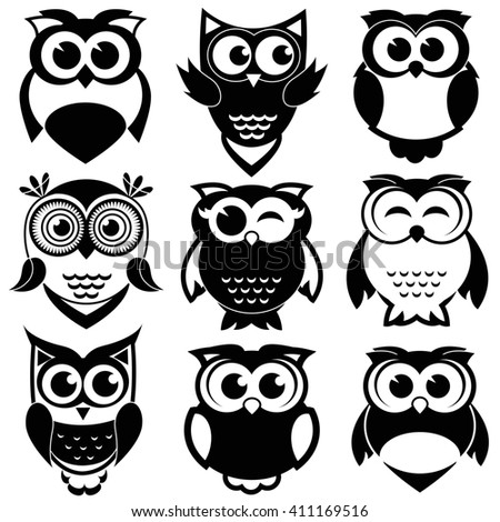 Cute black and white owls set. Raster version - stock photo