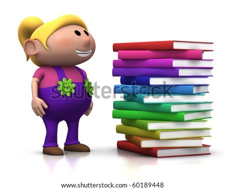 cute blond girl standing beside a big stack of books - 3d rendering/illustration