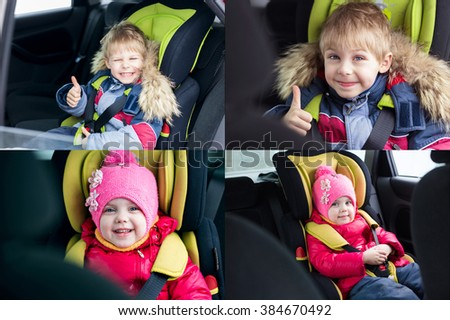 cute blond smiling boy five years and little lovely girl of sitting in the car in winter in children's car seat to 36 killogramm, strapped and stored in security shows cool hand.a collage of 4 photos