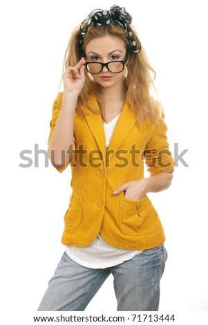 Glasses teen Cute blonde wearing