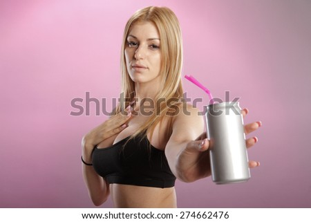 Cute blond with a beverage can