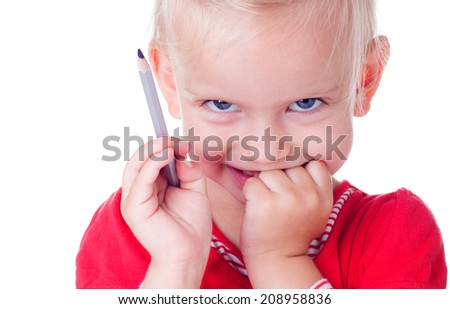 Cute blonde girl drawing with colored pencils , isolated on white  - stock photo