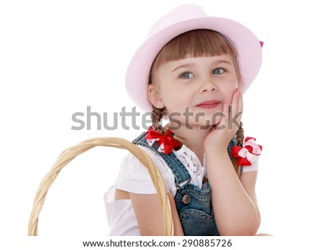 Cute blonde girl with short pigtails and hat smiling - isolated on white background - stock photo