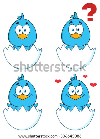 Cute Blue Bird Cartoon Character 1. Raster Collection Set - stock photo