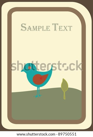 Cute blue bird with a leaf and hill on a postcard with copy space
