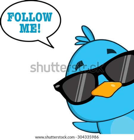 Cute Blue Bird With Sunglasses Cartoon Character Looking From A Corner With Speech Bubble And Text. Raster Illustration Isolated On White - stock photo