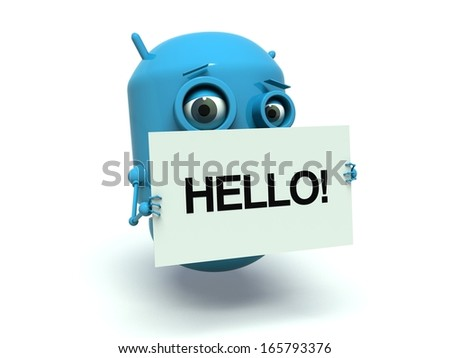 Cute blue robot holding a message board with the text word Hello. 3d render. Isolated on white background. - stock photo