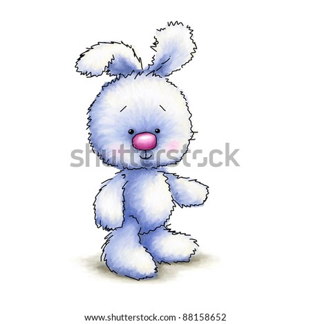 Cute blue toy bunny on white background - stock photo