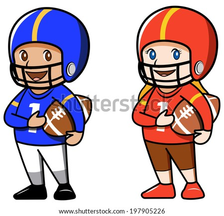 cute boy and girl football players cartoon characters raster