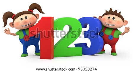 cute boy and girl with 123 numbers - high quality 3d illustration - stock photo