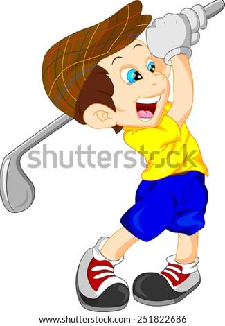 cute boy cartoon golf player - stock photo