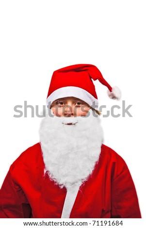 cute boy dressed as Santa Claus - stock photo