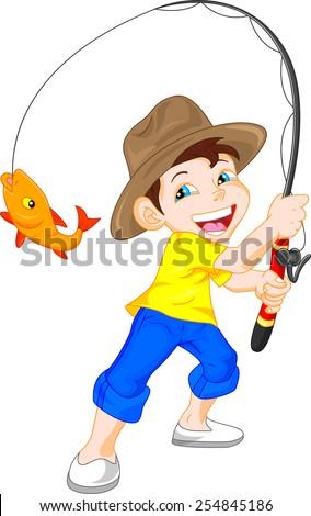 cute boy fishing cartoon - stock photo