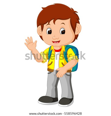 cute boy go school stock illustration 558596428 shutterstock rh shutterstock com cute school bus clip art cute school bus clip art