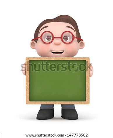 cute boy holding a blank chalkboard-3d rendered isolated - stock photo