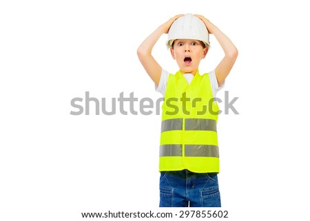 Cute boy in a costume of a builder posing with different emotions. Isolated over white.  - stock photo
