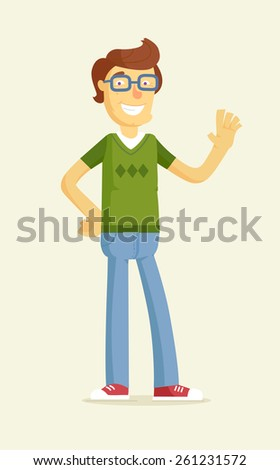 Cute boy in glasses greeting. Character illustration - stock photo