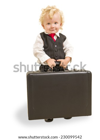 Cute Boy in Vest Suit and Tie with Briefcase On White - stock photo