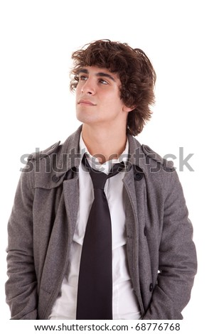 cute boy, looking up, isolated on white, studio shot - stock photo