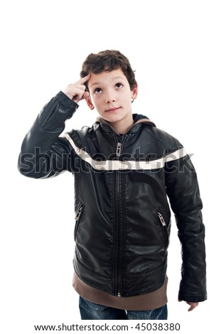 cute boy looking up, with hand as a sign of having an idea - stock photo